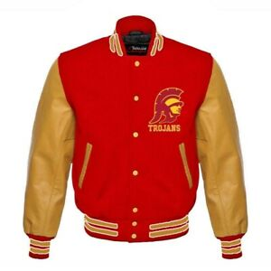 USC Southern California NCAA Varsity jacket genuine cowhide leather sleeves
