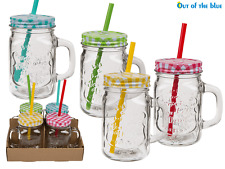 4pc Vintage Drinking Glass Dispenser Jar + Drinking Straw Water Juice Mug 350ml