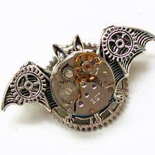 steampunk rock pendant collar brooch pins bat watch parts gear men women jewelry