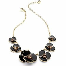 Kate Spade Disco Pansy Black Necklace NWT Modern Chic Glossy Black Blossoms
