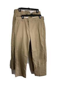 Red Kap Mens Work Pants Khaki Beige 34 x 32 Bundle of 2 Flat Front Style PT20KHO