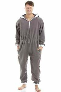 Camille Mens Grey Supersoft Fleece Zip Front Hooded Jumpsuit All in One