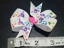 3inches music notes Pinwheel Hair bow nonslip Alligator Clip
