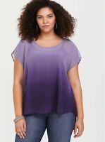 Torrid Womens sz 0 Purple Violet Sheer Ombre Chiffon Blouse Top Shirt cutout