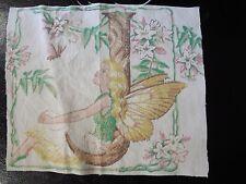 Vintage FAIRY LETTER 'J' Fabric Panel (16cm x 14cm)