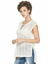 GUESS Top Women's Open Stitch Strappy V-Neck Sweater Tunic Blouse S Ivory NWT