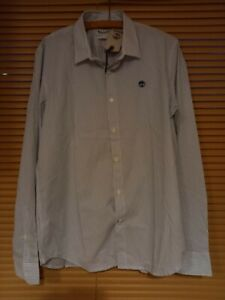 New Timberland Mans Large Long Sleeved Shirt, Blue & White Stripes RRP £80