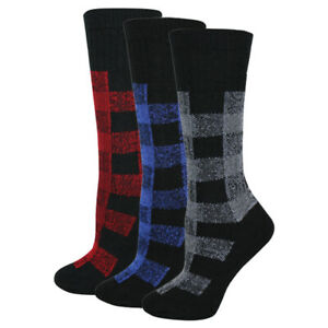 Wise Blend Womens Merino Wool Warm Thermal Plaid Flannel Crew Boot Socks 2 Pair