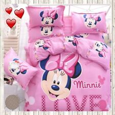 New listing Minnie Mouse Bedding Set cartoon kids bedclothes covers 3/4 pcs twin full Queen