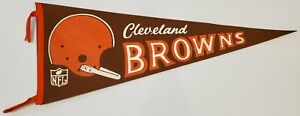 "VINTAGE 1960'S CLEVELAND BROWNS TEAM LOGO NFL FELT 30"" PENNANT RARE"