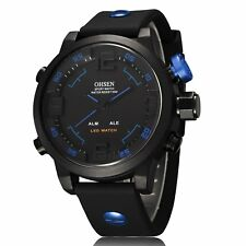 Reloj Hombre Mens LED Watch Black Silicone Bnd Dual Time Day Date Alarm Big Face