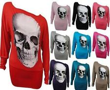 NEW WOMENS SKULL SEQUIN PRINTOFF SHOULDER BATWING SLEEVE BAGGY TOPS SLOUCH DRESS