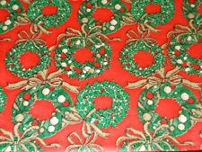 New ListingVtg Christmas Wrapping Paper Gift Wrap 1960 Gold Ribbon Wreath On Red Nos