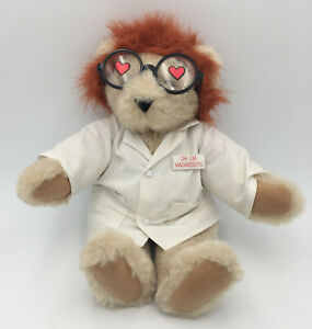 Dr I. M MADABOUTYOU love Vermont Teddy Bear In Lab Coat Removable Wig Glasses