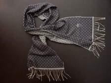 NWT EIDOS by Isaia SCARF alpaca wool 2-sided blue Polka dot luxury Italy