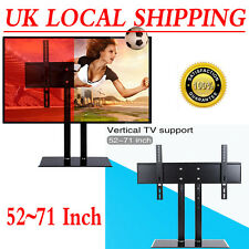 Top Quality Table TV Stand W/ Bracket Glass Pedestal LCD LED Plasma Mount 52-71