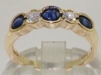 Solid 18ct Yellow Gold Natural Sapphire & Diamond Modern Eternity Band Ring