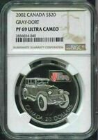 2002 CANADA $20 - THE GRAY-DORT - NGC PF69 UC /w BOX & COA - HOLOGRAM CAR