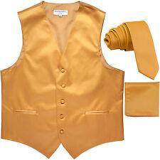 """New Men's Gold formal vest Tuxedo Waistcoat_2.5"""" necktie & hankie set wedding"""