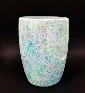 NEW IRIDESCENT AQUA,BLUE,GREEN GLASS MOSAIC WASTE BASKET,TRASH CAN