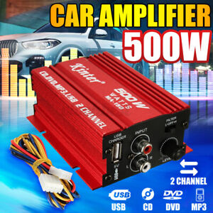 500W 2 Channel Mini Car Amplifier HiFi Stereo Audio Support USB MP3 FM Input US