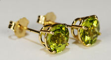 BEENJEWELED NATURAL GENUINE  PERIDOT EARRINGS~PREMIUM 14 KT YELLOW GOLD~6MM