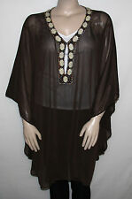 NEW SPIN by Mitchell Gross Size PLUS Taos Crinkle Caftan with Beaded Detail