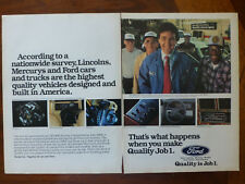 1980's 80's vintage old Ford Motor Company QUALITY IS JOB ONE 1 #1 magazine ad