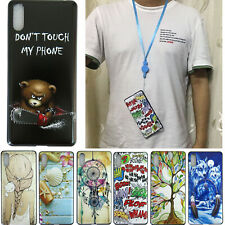 For Sony Xperia L3 TPU Gel Silicon Back Case Cover With Neck Strap