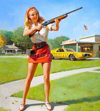 ANTIQUE 8X10 PHOTOGRAPH PRINT PRETTY WOMAN SHOOTING SKEET REMINGTON 1100 SHOTGUN