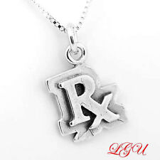 """STERLING SILVER RX PHARMACIST CHARM WITH 16"""" BOX CHAIN NECKLACE"""