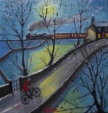La NOTTE Mail: ORIGINALE Nord arte pittura ad olio su tela cosa
