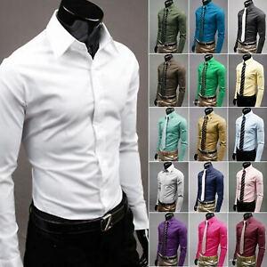 Mens Long Sleeve Shirt Button Up Smart Casual Plain Formal Collared Dress Tops