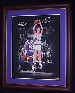 MAGIC VS BIRD MATTED AND FRAMED DUAL SIGNED 18X25 PHOTO PSA/DNA AUTHENTICATED