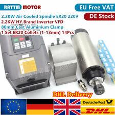 『UK』2.2KW 220V Air Cooled CNC Router Spindle Motor+HY Inverter+Clamp+ER20 Collet