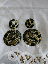 LaRage Statement Pierced Earring Drop Dangle Zebra Leopard Rhinestone eye Africa