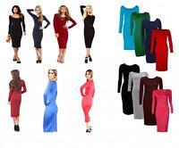 New Ladies Womens Long Sleeve Stretch Bodycon Plain Midi Maxi Dress Plus Size