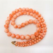 "Natural angel skin pink red coral necklace, gradual beads, 14k GF clasp 18"" long"