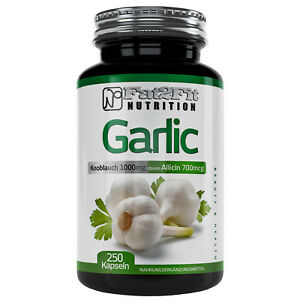 Knoblauch 250 Kapseln je 1000mg geruchlos Garlic XXL DOSE Fat2Fit Nutrition