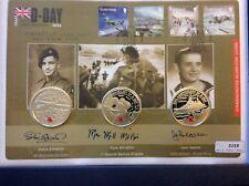 2004 Eroi del D-Day TRIPLE firmato ARGENTO PROOF £ 5 Cinque sterline CROWN MEDAGLIA COVER