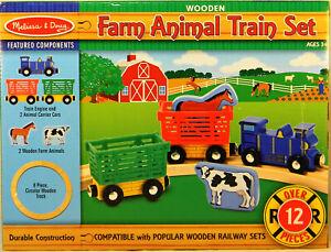NEW Melissa and Doug #644 Farm Animal Wooden Train Set