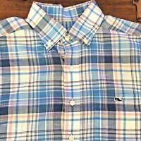 Vineyard Vines Plaid Whale Shirt Cotton Blue Pink Pastel Classic Fit Mens Small