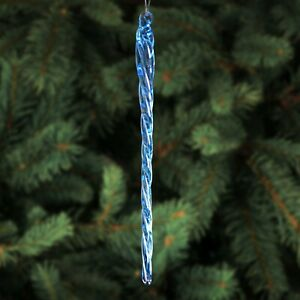 """6"""" BLUE Glass Icicles - 12 Quantity - Christmas Holiday Ornaments"""