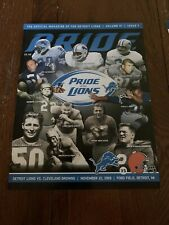 Detroit Lions Vs Cleveland Browns 11/22/09 Game Program And Ticket Stubs