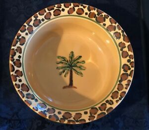 "PetRageous Stoneware Palm & Leopard Rim Pet Bowl ~ 9""  x 3.5"" few Glaze Bubbles"