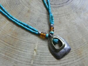 SILPADA N2106~Turquoise & Leather Necklace w Brass & Sterling Silver Pendant