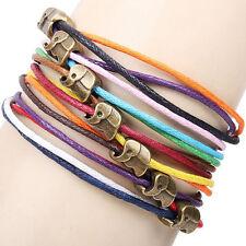 Élégantes de style Owl Elephant cuir corde tressée Bracelet Lucky Charms