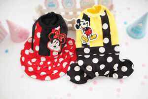 Mickey Dog Clothes Pet Cats Clothing Dress & Jumpsuit Puppy Dog Cute Dot Apparel
