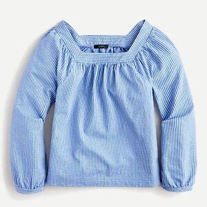 J.Crew Square-neck top in stretch knit seersucker XXL Blue & White Stripe