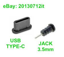 10x Set Anti-Dust Plug USB Type-C + Jack Earphone 3.5mm Silicone Black Universal